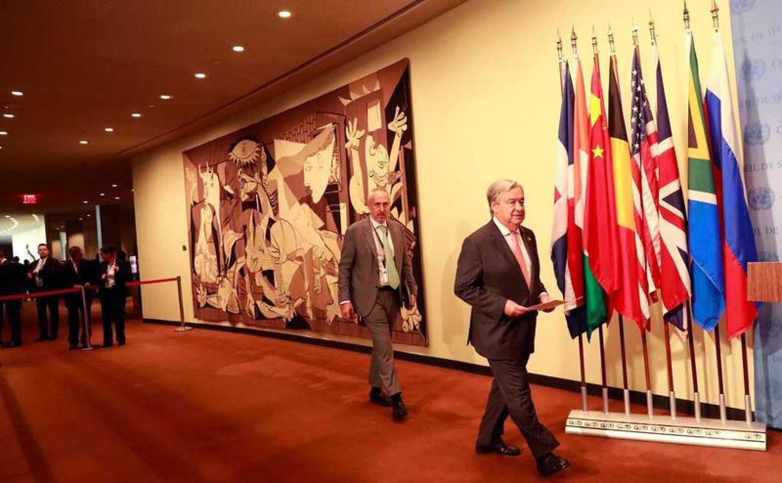 El secretario general de Naciones Unidas, Antonio Guterres, a su llegada a la sede de la ONU en Nueva York.