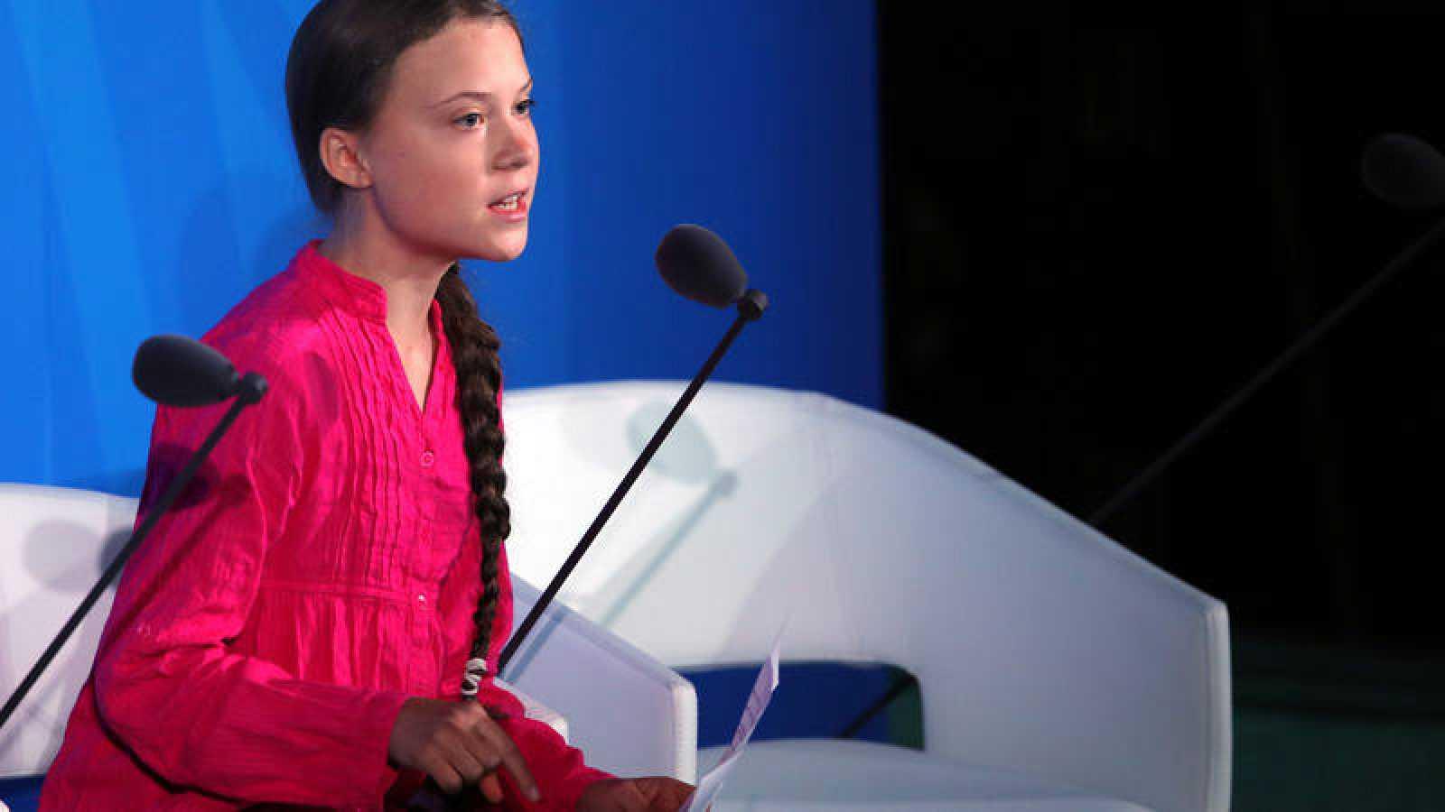 La activista sueca Greta Thunberg, durante su intervención en la Cumbre de Acción Climática de la ONU.