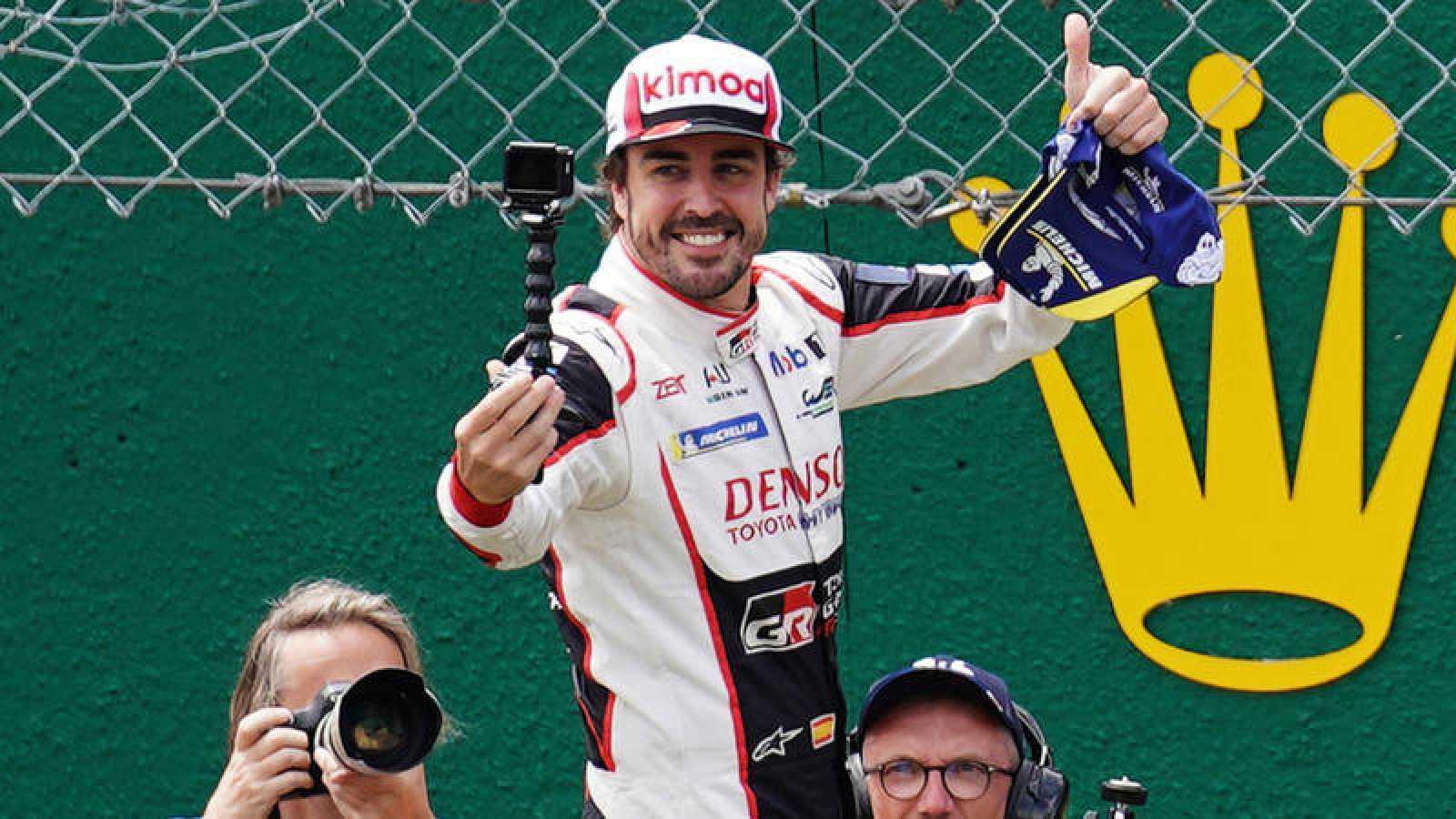 El piloto español Fernando Alonso, celebrando las 24 Horas de Le Mans en imagen de archivo.