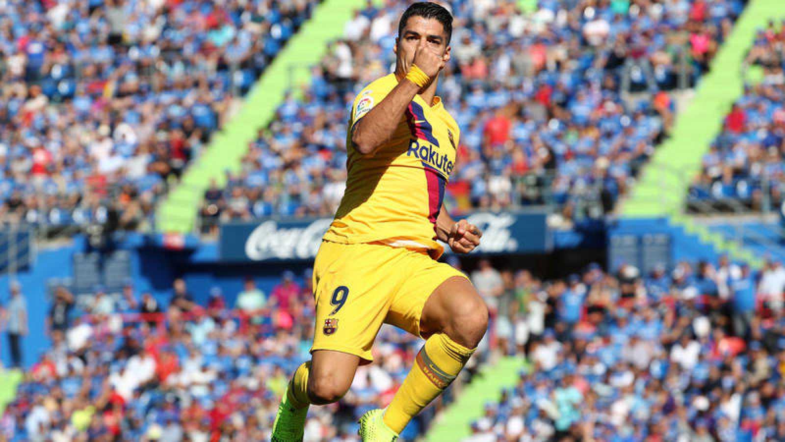Suárez celebra su tanto