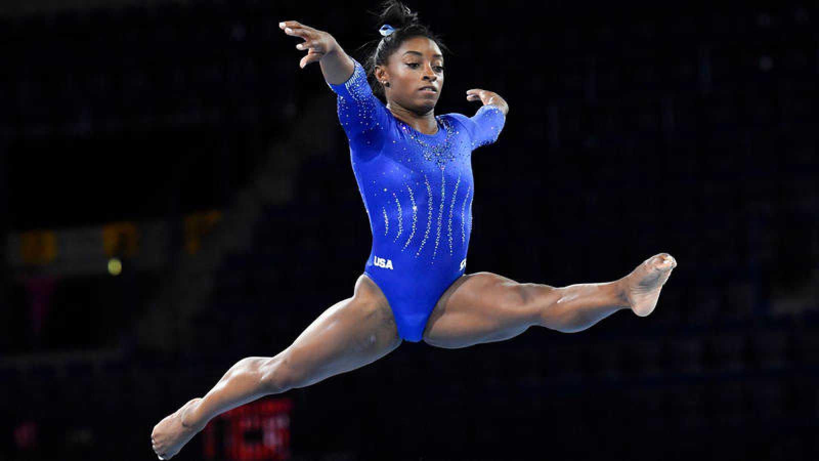 La gimnasta estadounidense Simone Biles, en un entrenamiento.