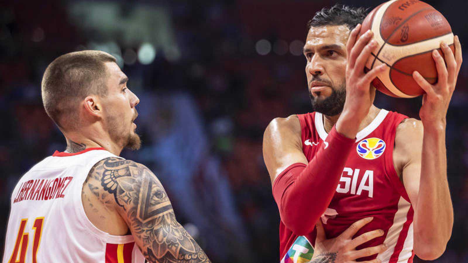 El pívot tunecino Salah Mejri, en el partido del pasado Mundial de baloncesto contra España.