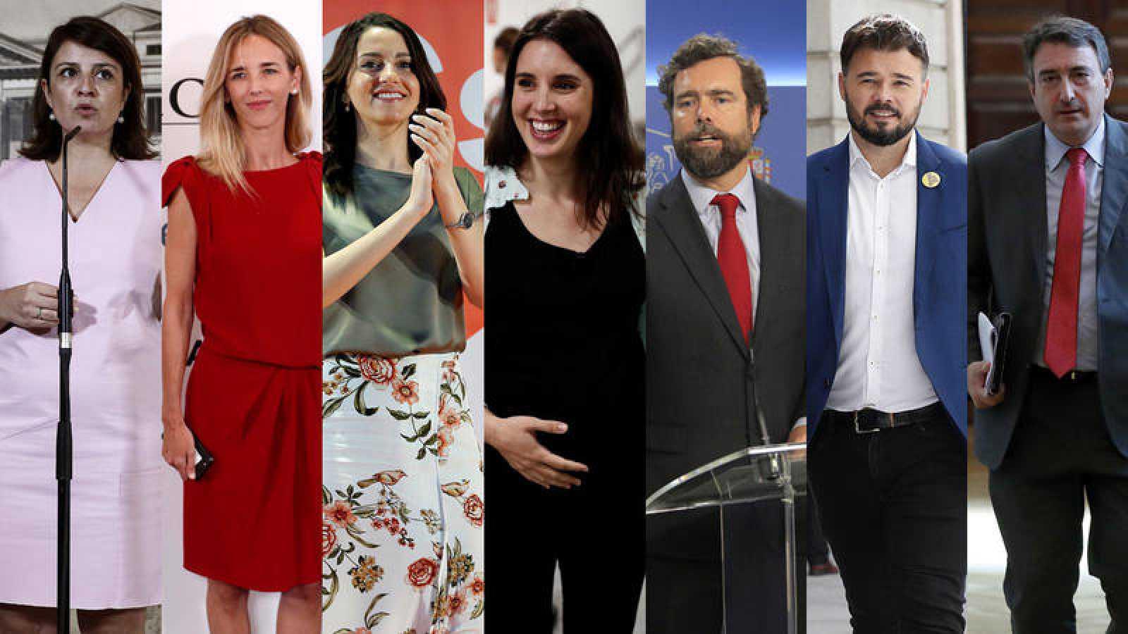 Los portavoces parlamentarios que participan en el debate a siete