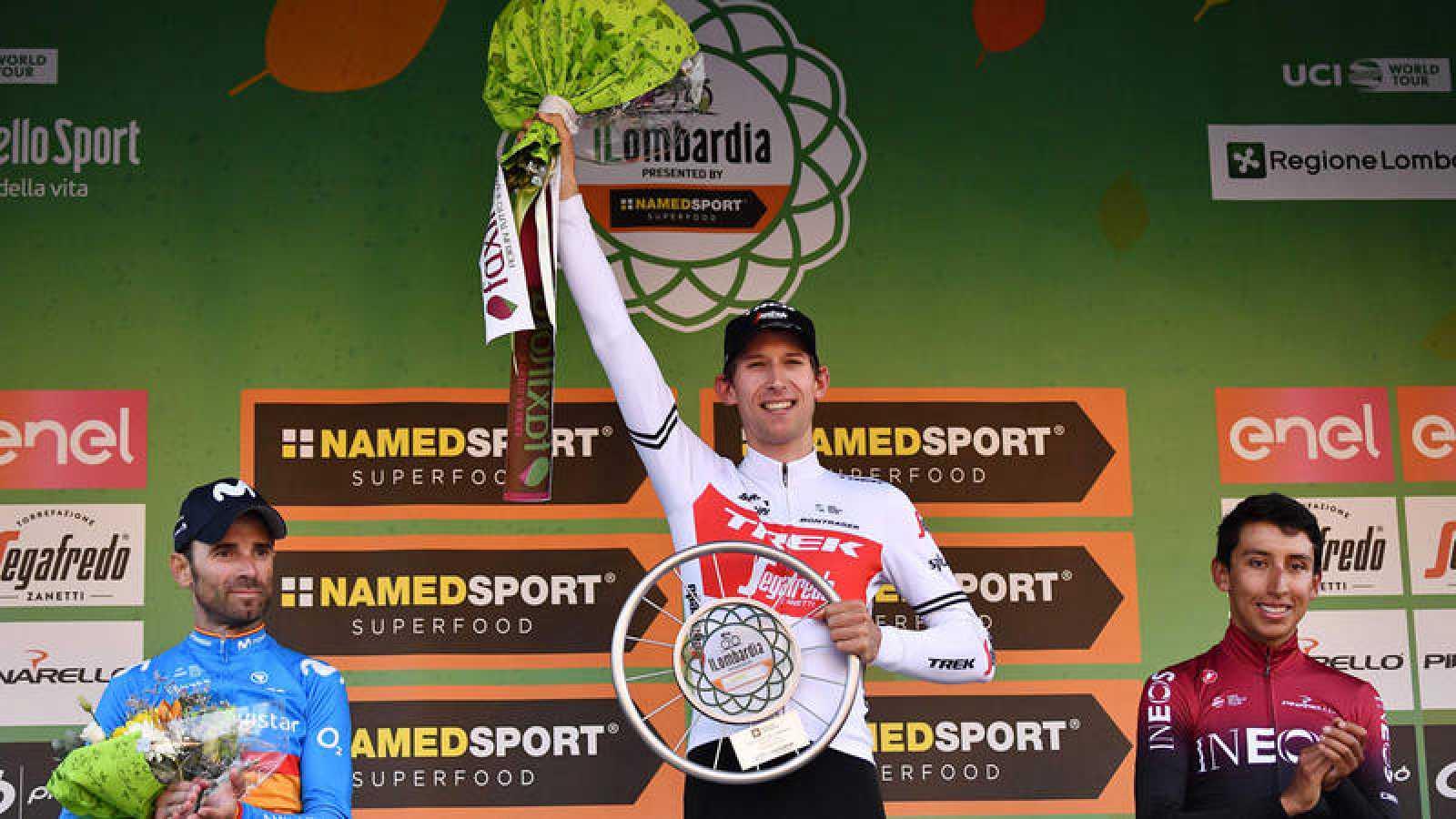 El podio de la II Lombardía con Mollema en lo más alto