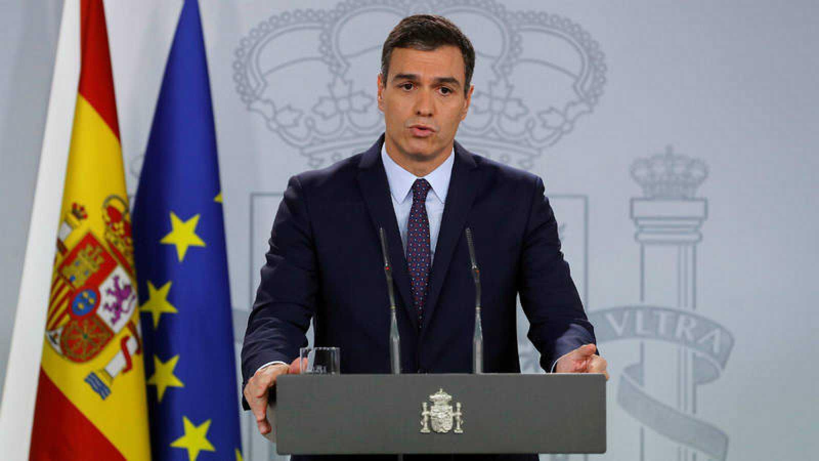Pedro Sánchez, durante su comparecencia en Moncloa este lunes