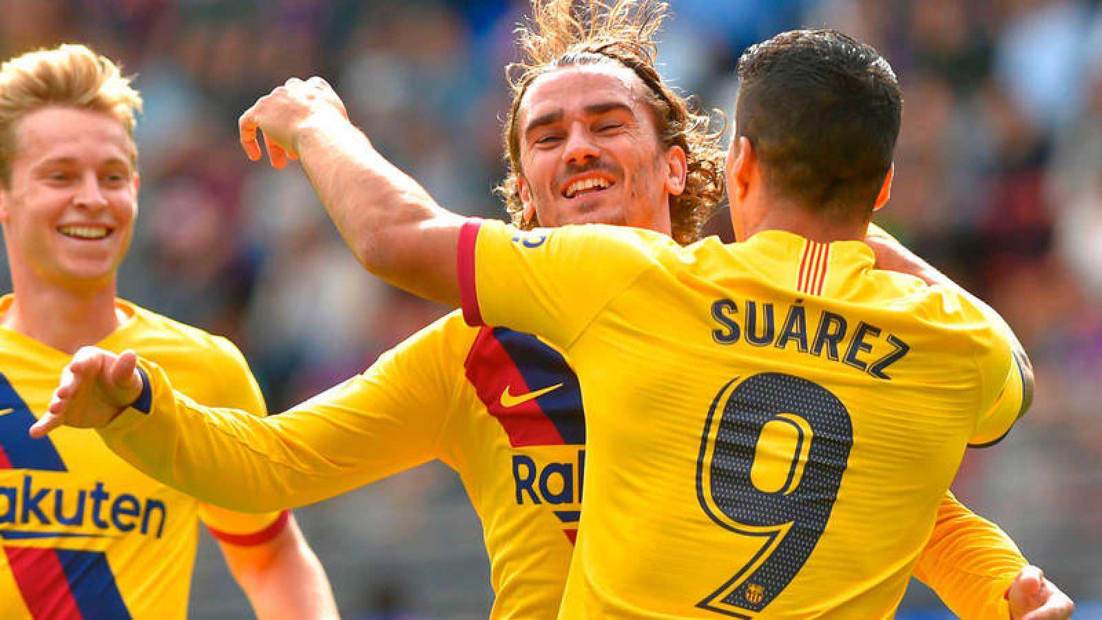 Griezmann, Suárez y De Jong celebran el primer gol
