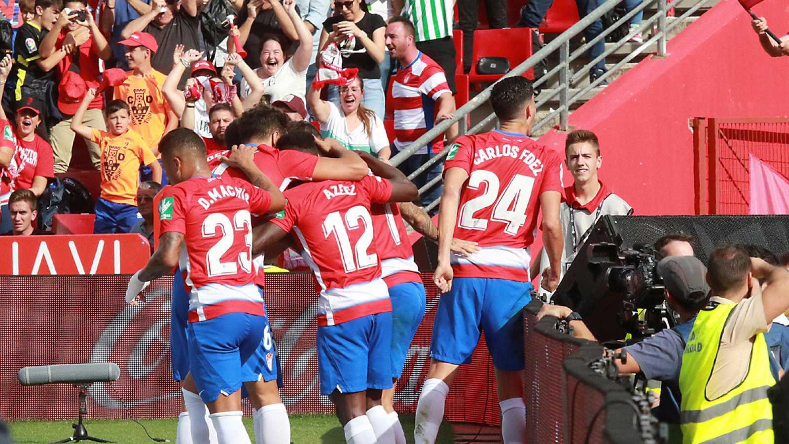 Los jugadores del Granada celebran el gol de Álvaro Vadillo al Real Betis