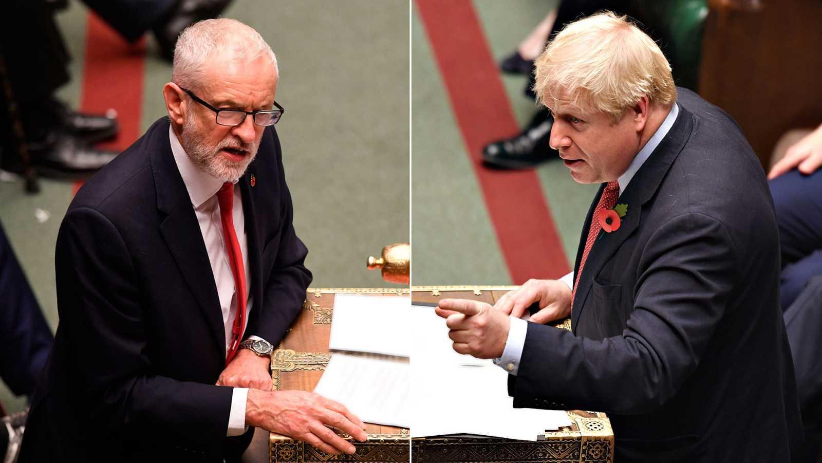 El líder laborista, Jeremy Corbyn, y el primer británico, Boris Johnson, en un debate parlamentario