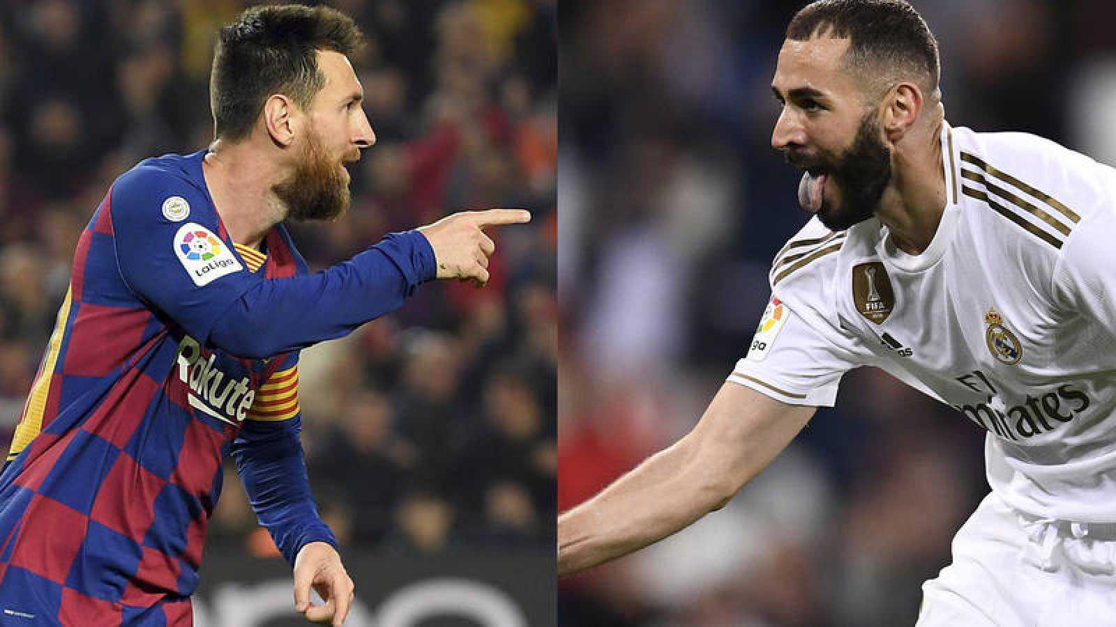 Messy y Benzema, protagonistas de Barça y Madrid en la jornada.