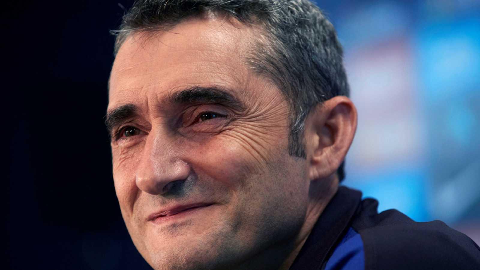 El entrenador del Barcelona, Ernesto Valverde, durante la rueda de prensa