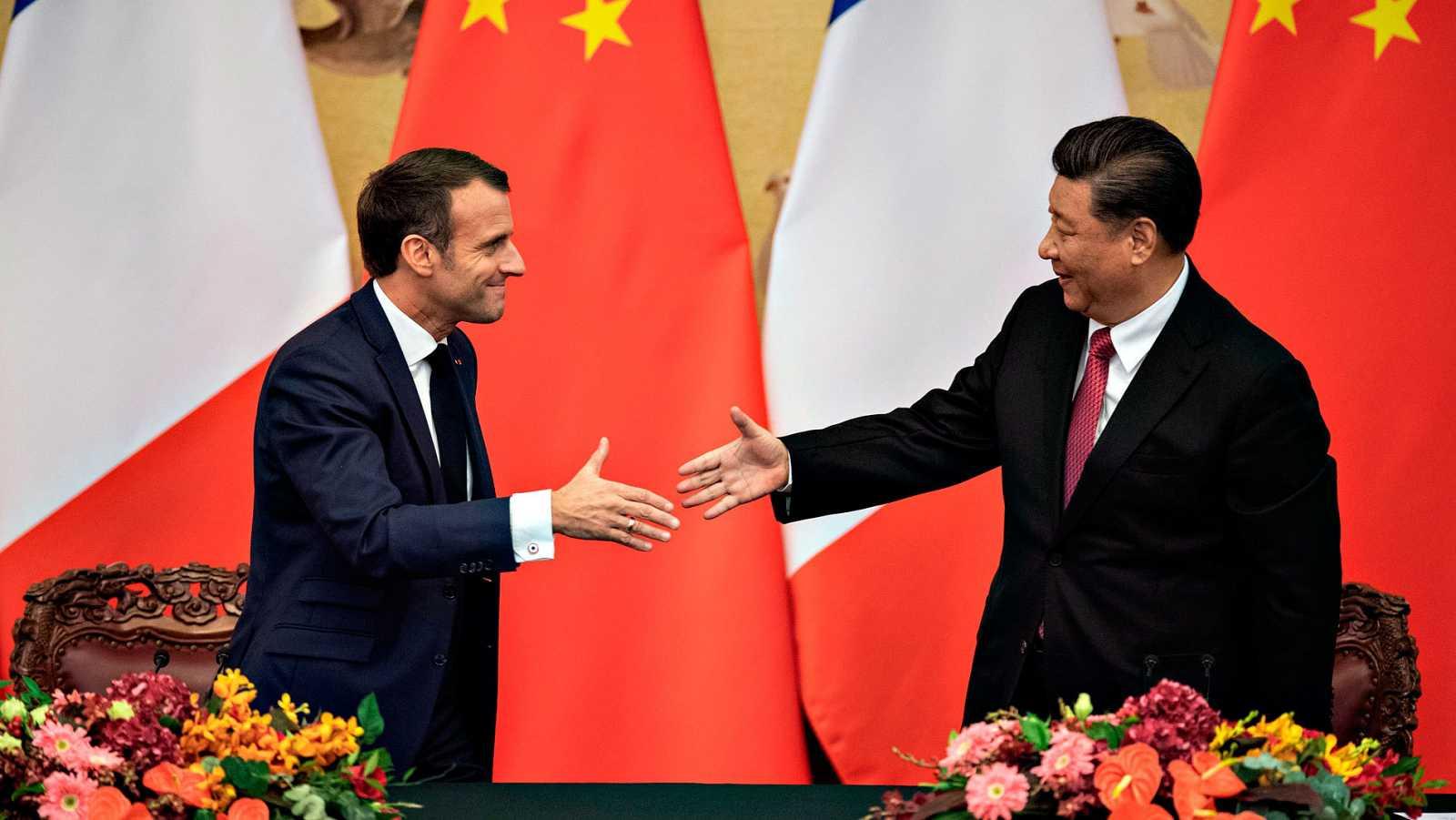Los presidentes de Francia y China, Emmanuel Macron y Xi Jingping, durante la cumbre bilateral en Pekín