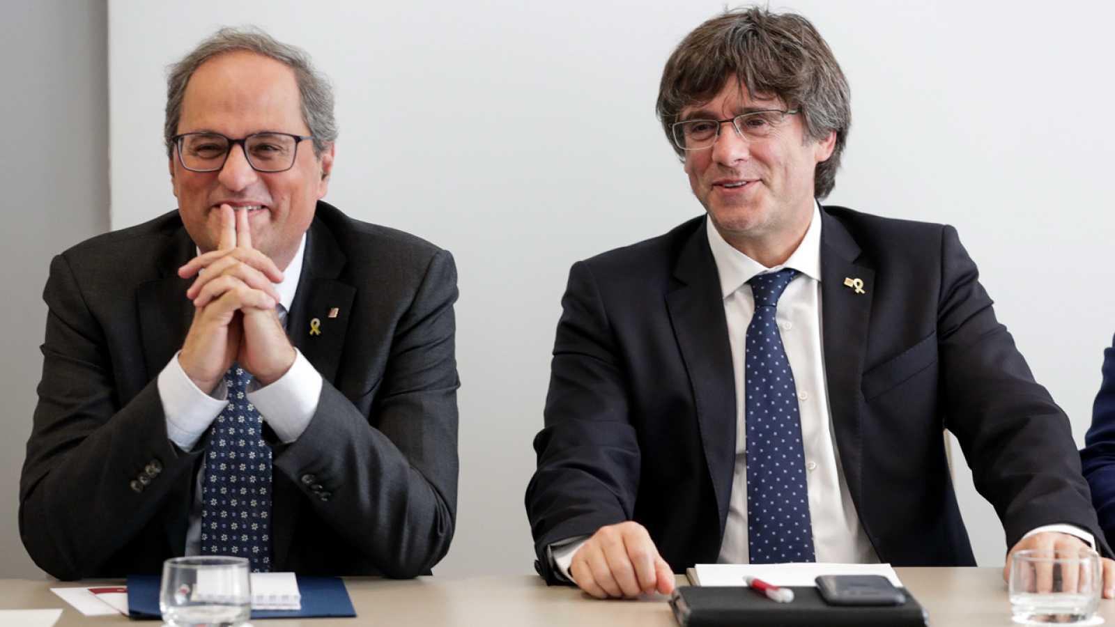 El presidente de la Generalitat, Quim Torra, junto al expresidente Carles Puigdemont en Bruselas
