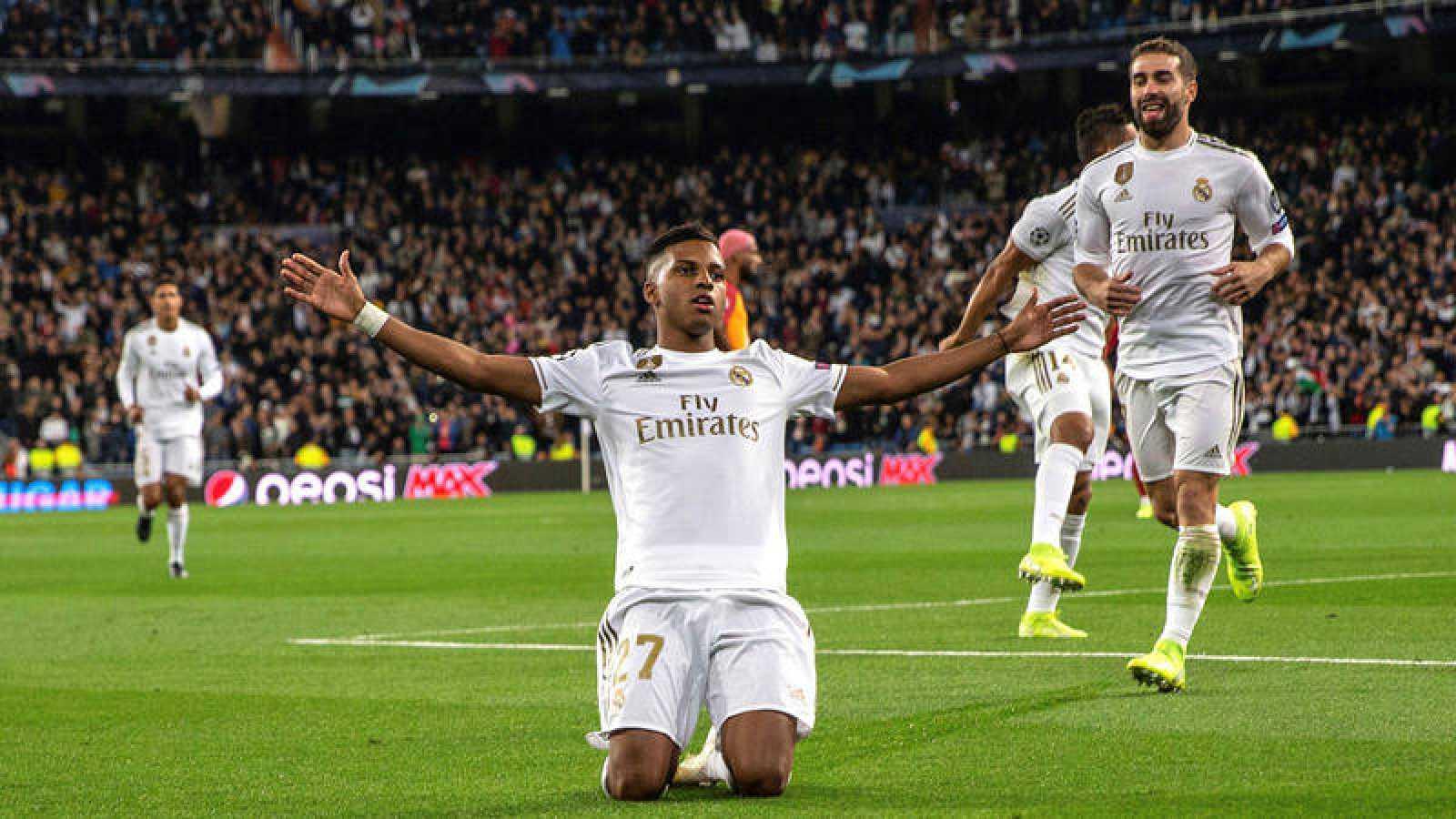 Rodrigo Goes celebra uno de sus goles en el Real Madrid-Galatasaray