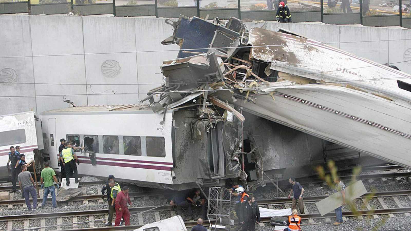 Imagen de archivo del accidente ocurrido en 2013 del Alvia que cubría la ruta Madrid Ferrol