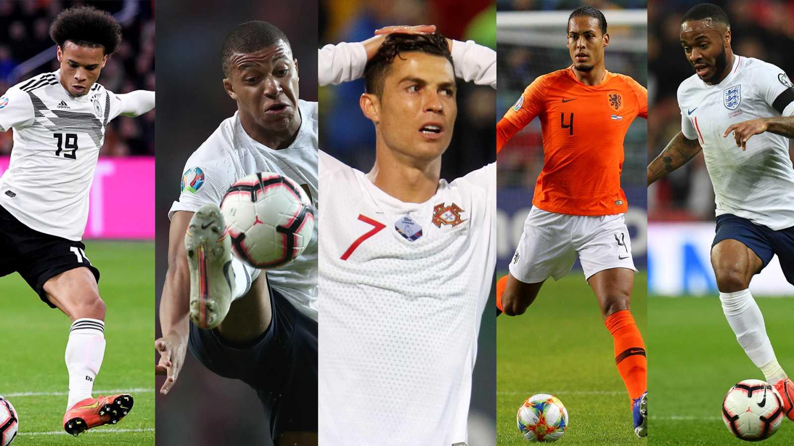 Sané (Alemania), Mbappé (Francia), Cristiano Ronaldo (Portugal), Van Dijk (Holanda) y Sterling (Inglaterra)