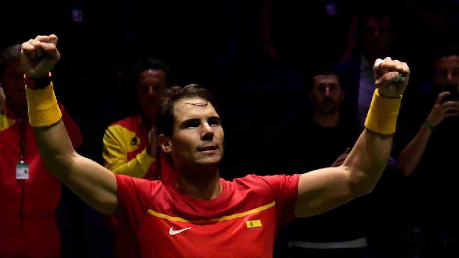 Rafa Nadal celebra su victoria frente a Borna Gojo.