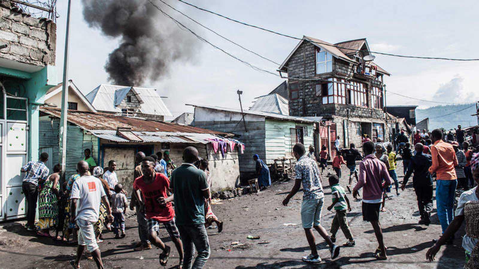 Zona de la ciudad de Goma donde ha caído el aparato