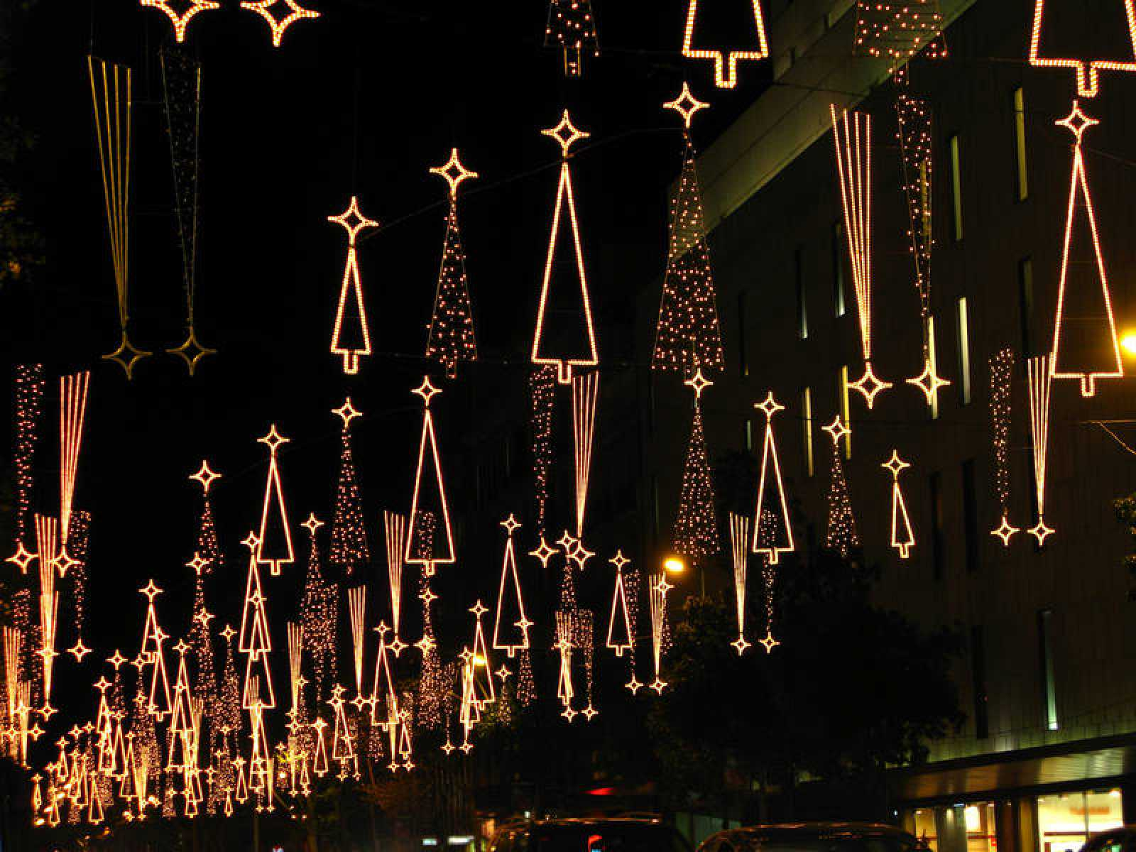 Christmas lights in Barcelona street
