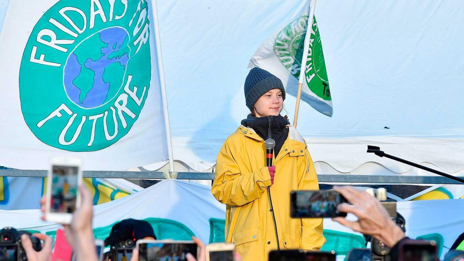 Greta Thunberg, en una manifestaciónen Turín, justo después de participar en la Cumbre del Clima de Madrid.
