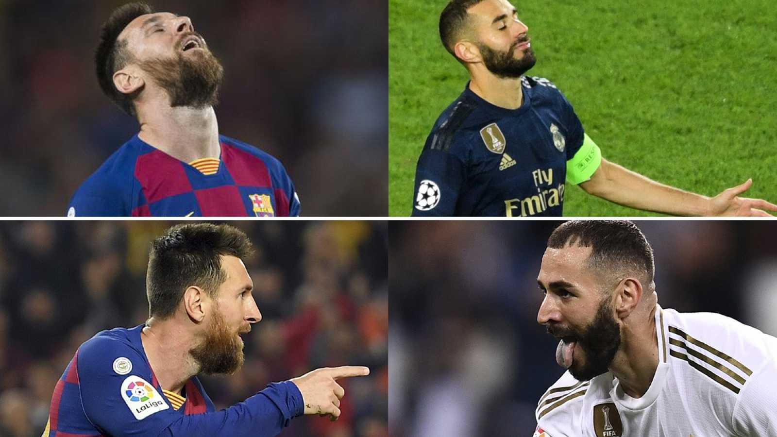 Arriba, Messi y Benzema se lamentan, abajo celebran