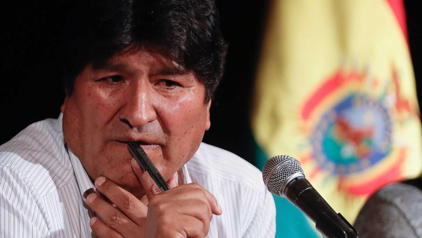 El expresidente de Bolivia Evo Morales durante una rueda de prensa en Buenos Aires (Argentina). EFE/Juan Ignacio Roncoroni