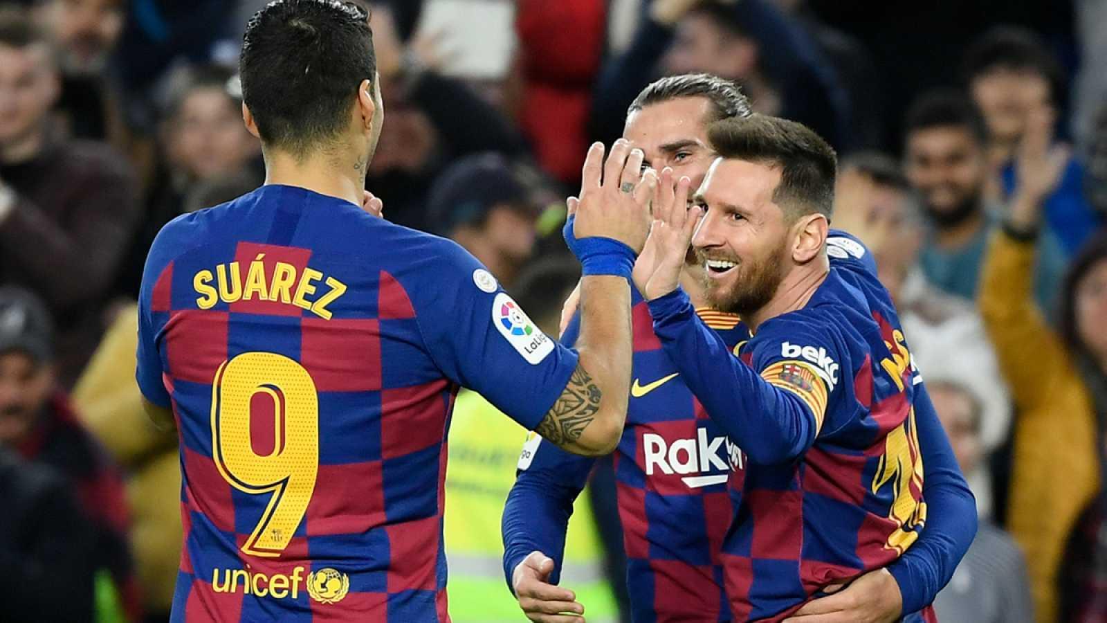 Los jugadores del Barça, celebrando un gol.