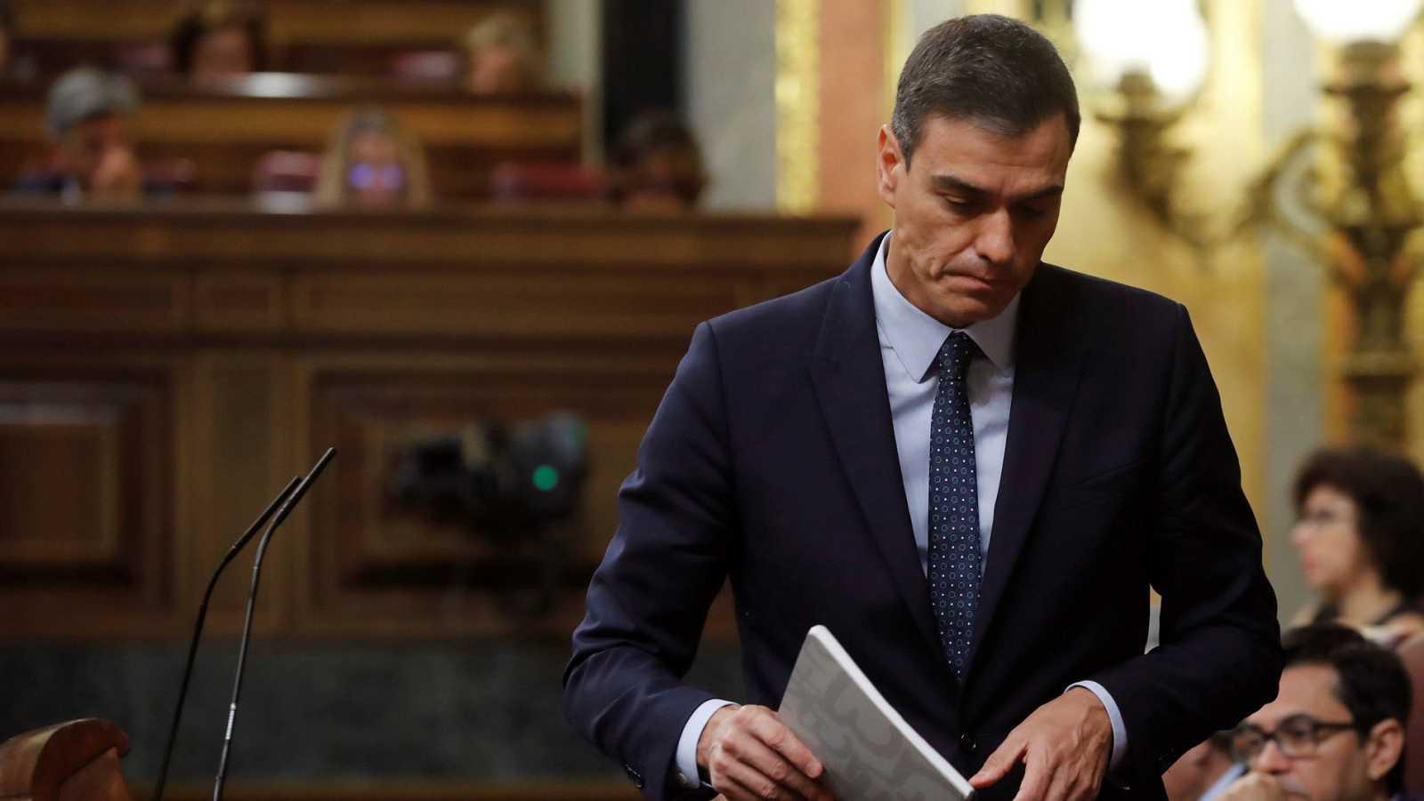 El presidente del Gobierno en funciones y candidato socialista, Pedro Sánchez, en una imagen de archivo en el Congreso.