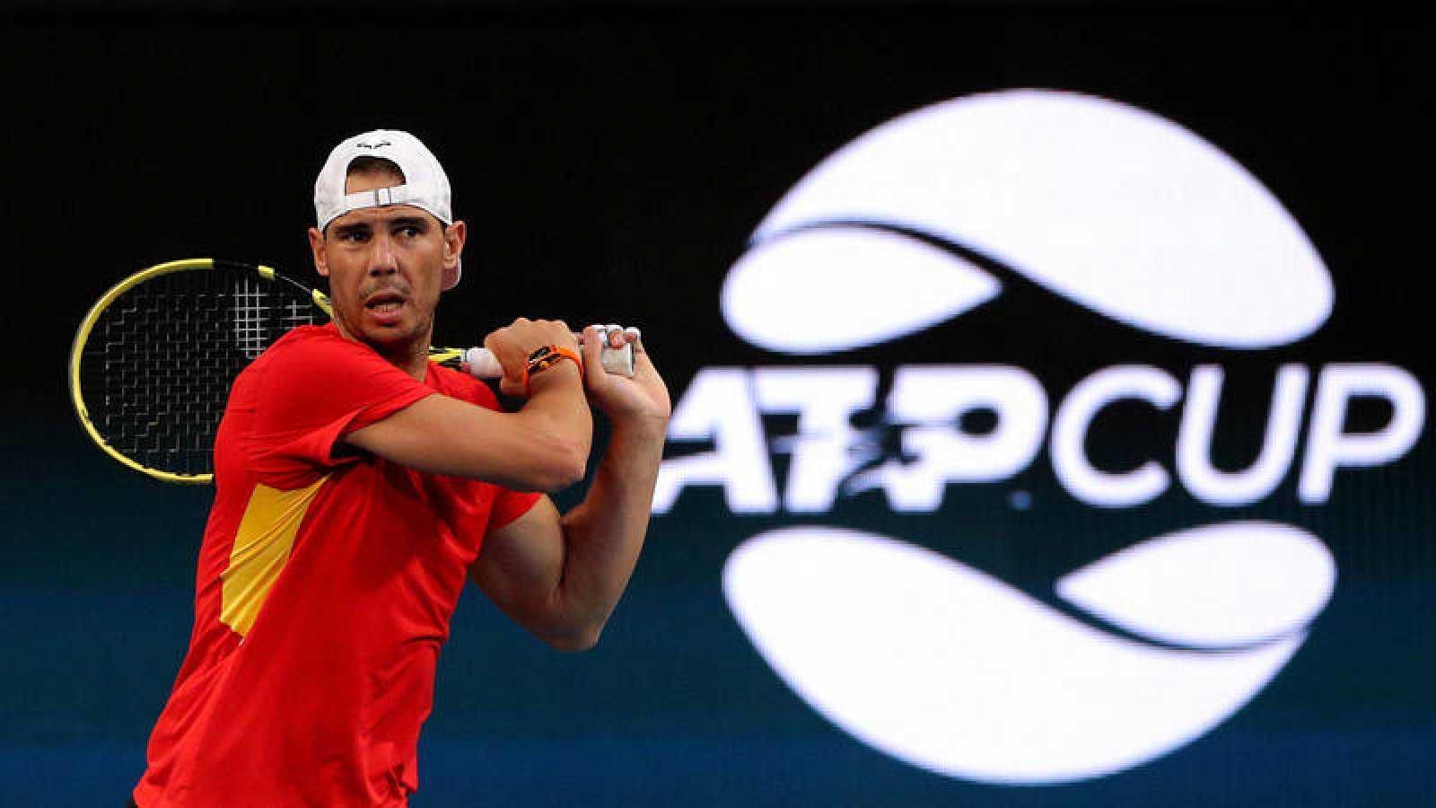 Rafa Nadal durante un entrenamiento de la Copa ATP