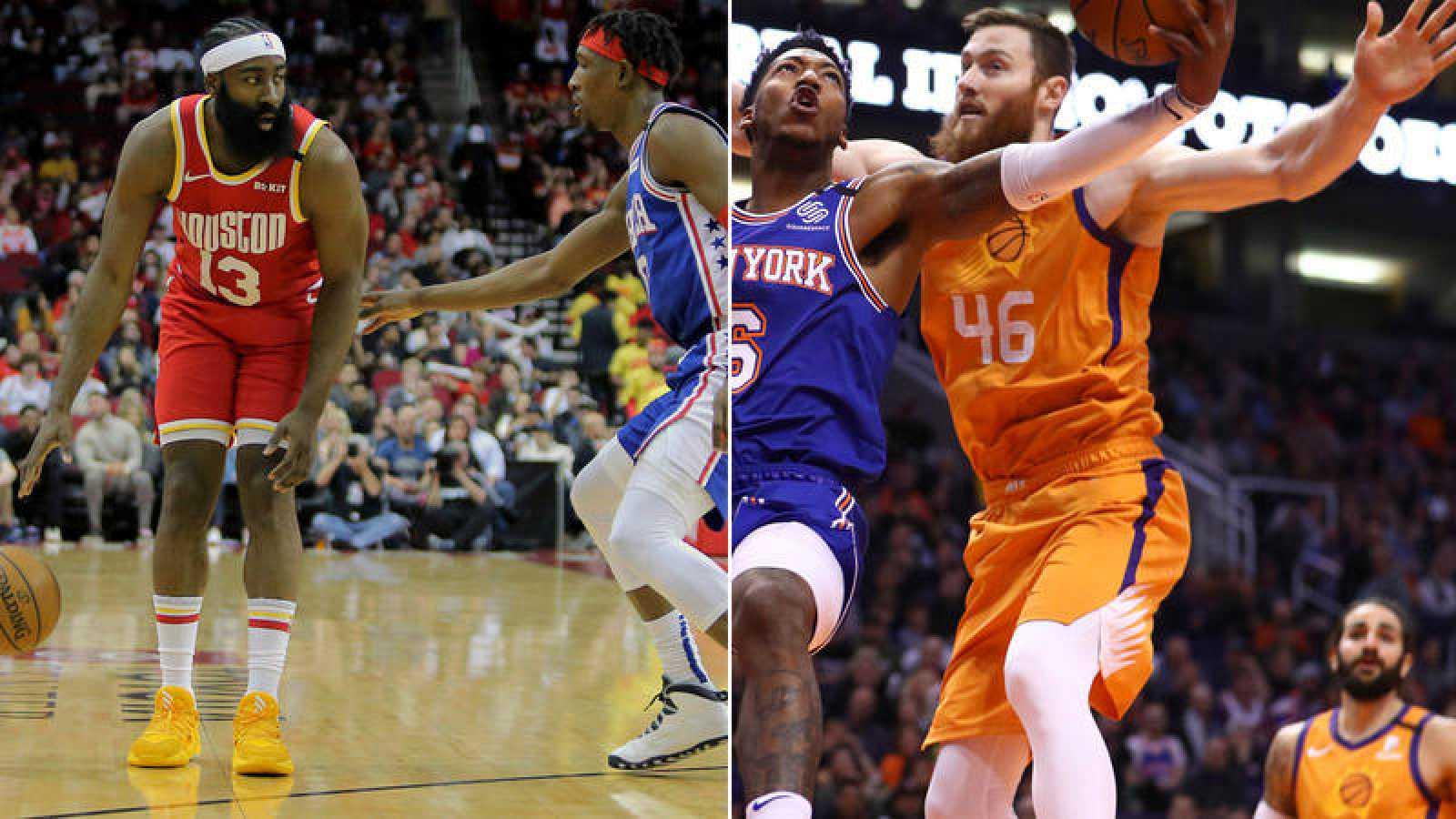 Fotomontaje de dos lances de sendos partidos de la NBA. A la izquierda, Harden (Rockets) ante la defensa de Richardson (Sixers); a la derecha, un lance del encuentro entre los Suns y los Knicks, con Ricky Rubio al fondo.