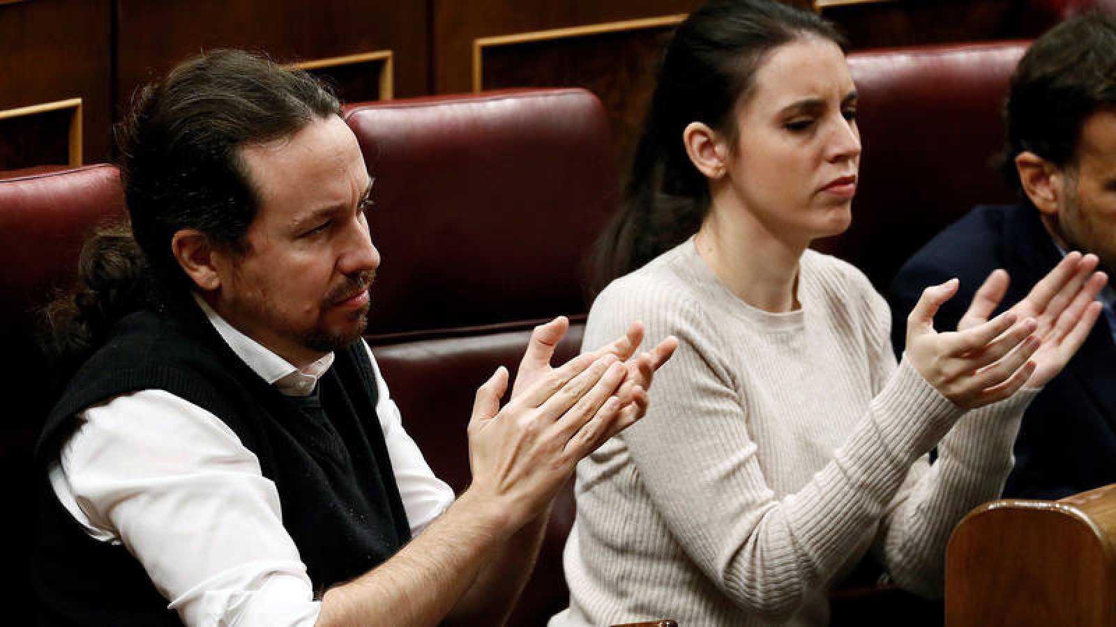 Imagen de archivo de Pablo Iglesias e Irene Montero en el Congreso de los Diputados.