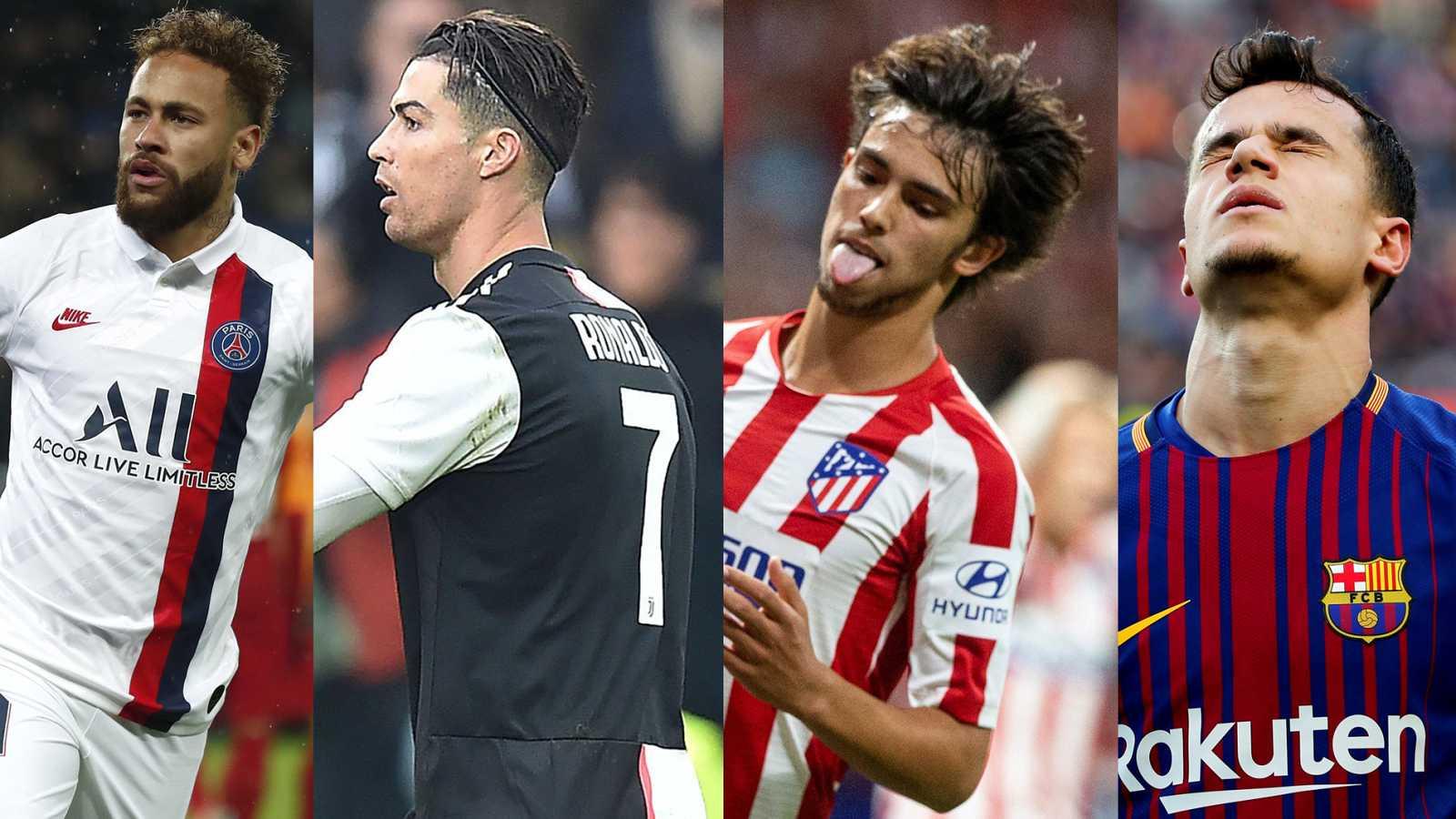 Neymar, Cristiano Ronaldo, Joao Félix y Coutinho.