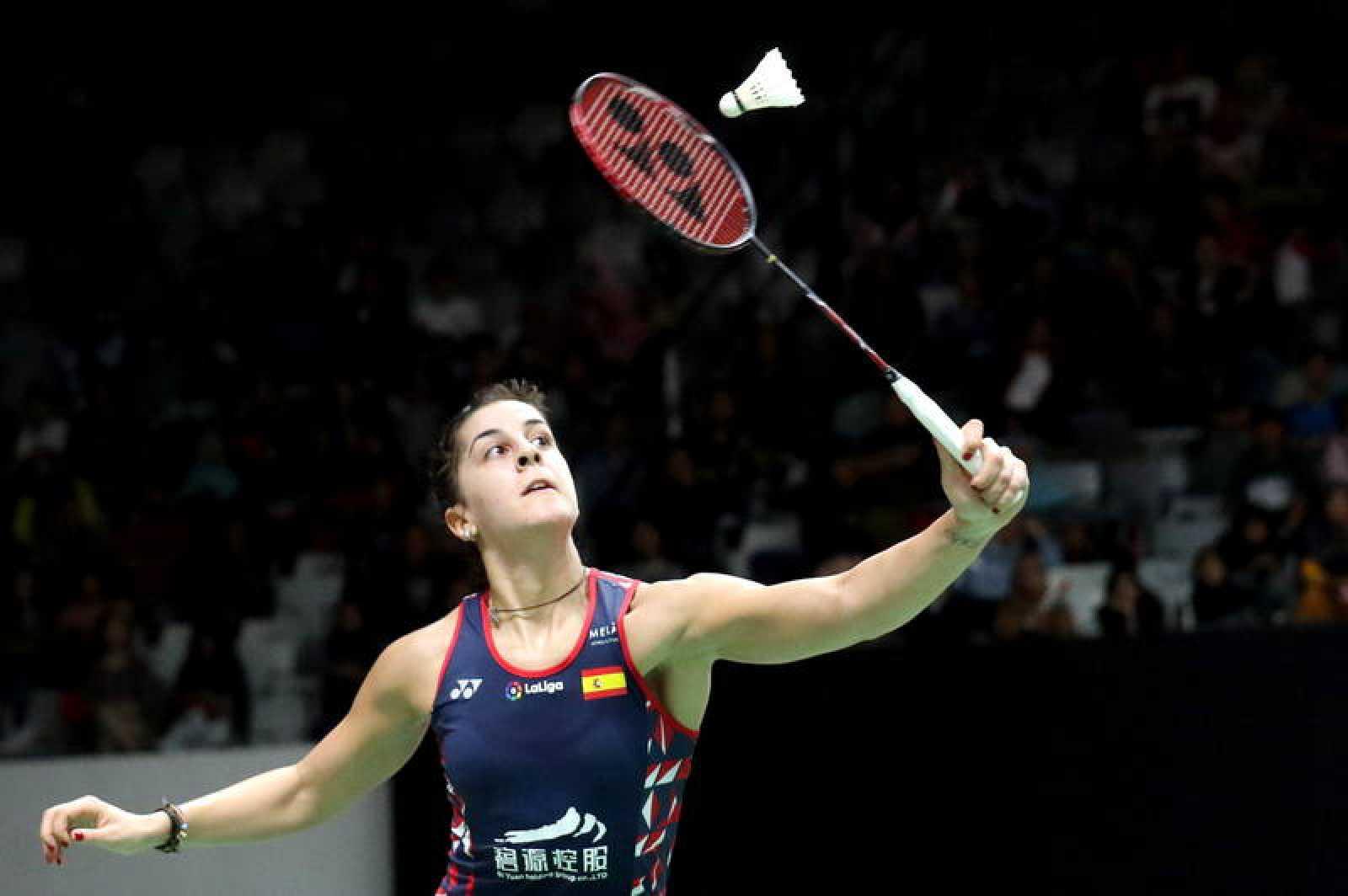 Carolina Marín, en acción en su primer partido del Abierto de Indonesia 2020