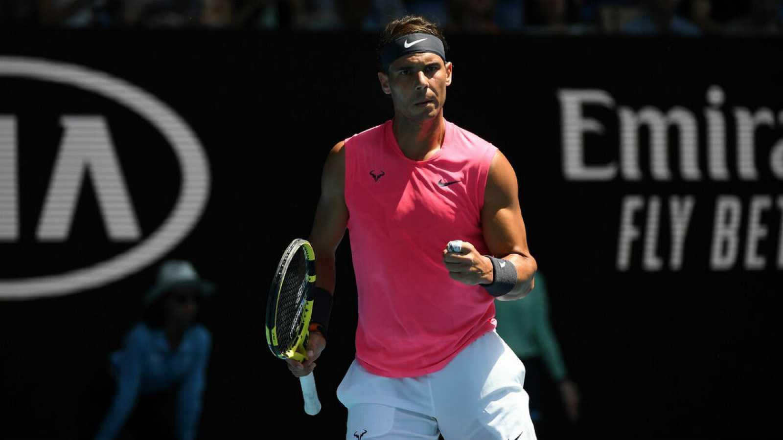 Imagen de Rafa Nadal en su partido contra Hugo Dellien en el segundo día del Abierto de Australia, en Melbourne.