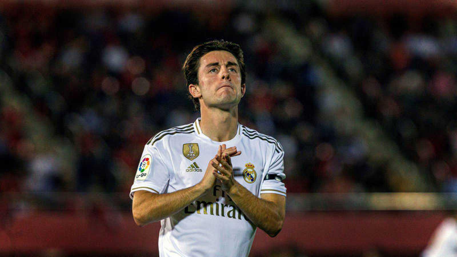 El lateral Odriozola, en su último partido con el Madrid en Mallorca.