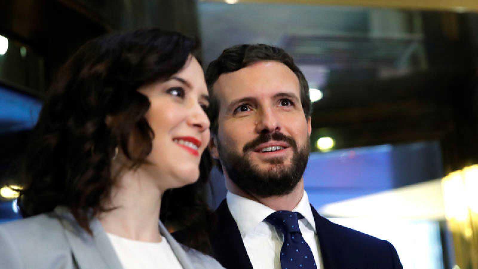 La presidenta de la Comunidad de Madrid, Isabel Díaz Ayuso, y el presidente del PP, Pablo Casado