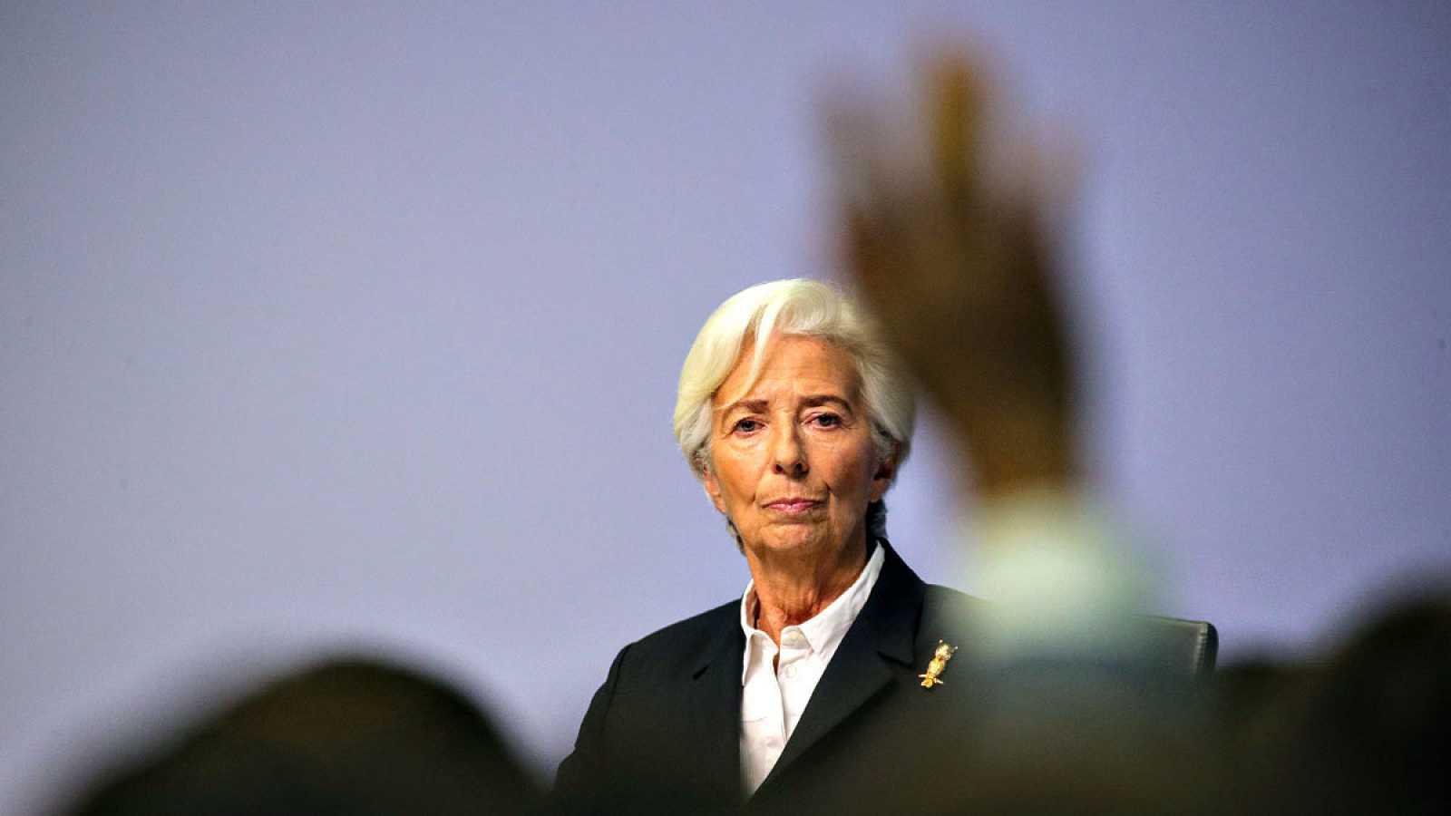 La presidenta del BCE, Chrintine Lagarde, en la rueda de prensa celebrada en Fráncfortº
