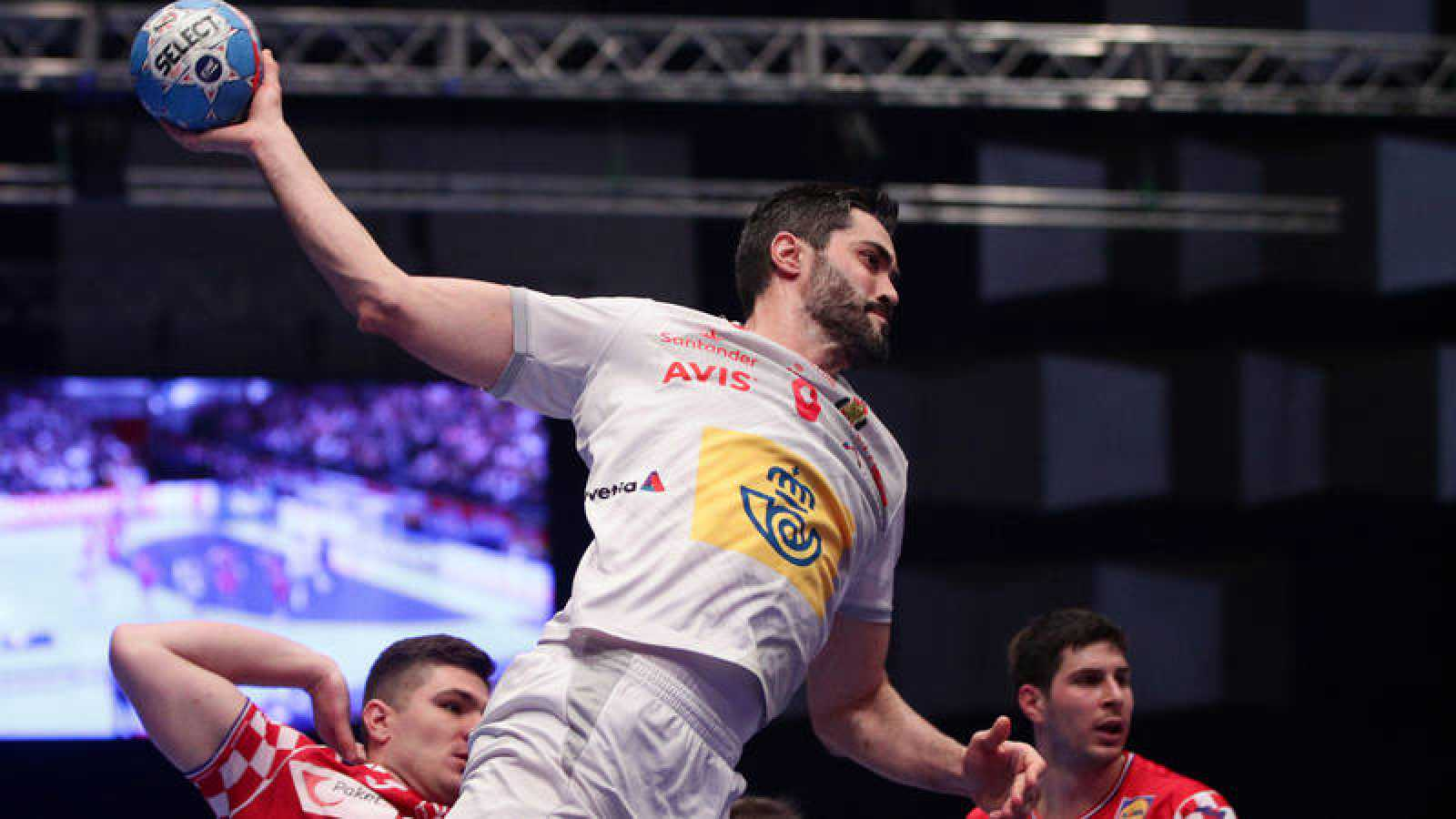 Raúl Entrerríos, en acción durante el pasado España - Croacia de la 'main round'.