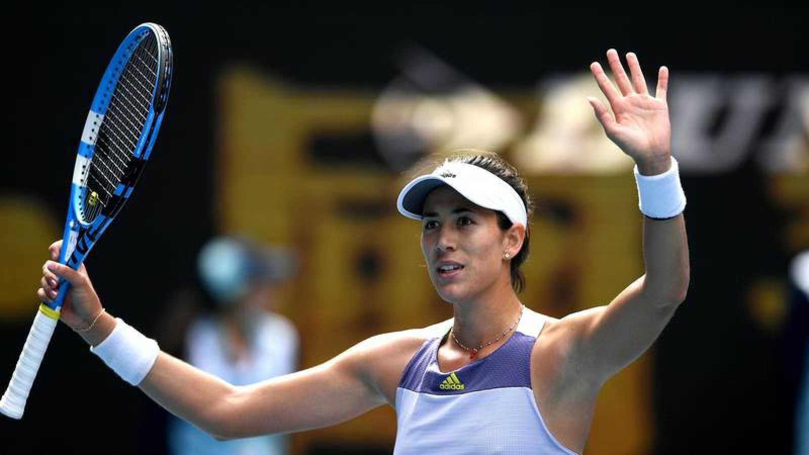 La tenista española Garbiñe Muguruza celebra su victoria ante el neerlandesa Kiki Bertens.