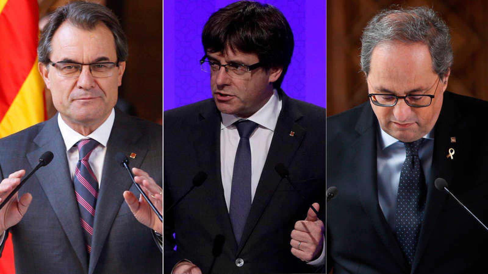 Elecciones en Cataluña: Los presidentes catalanes Artur Mas, Carles Puigdemont y Quim Torra