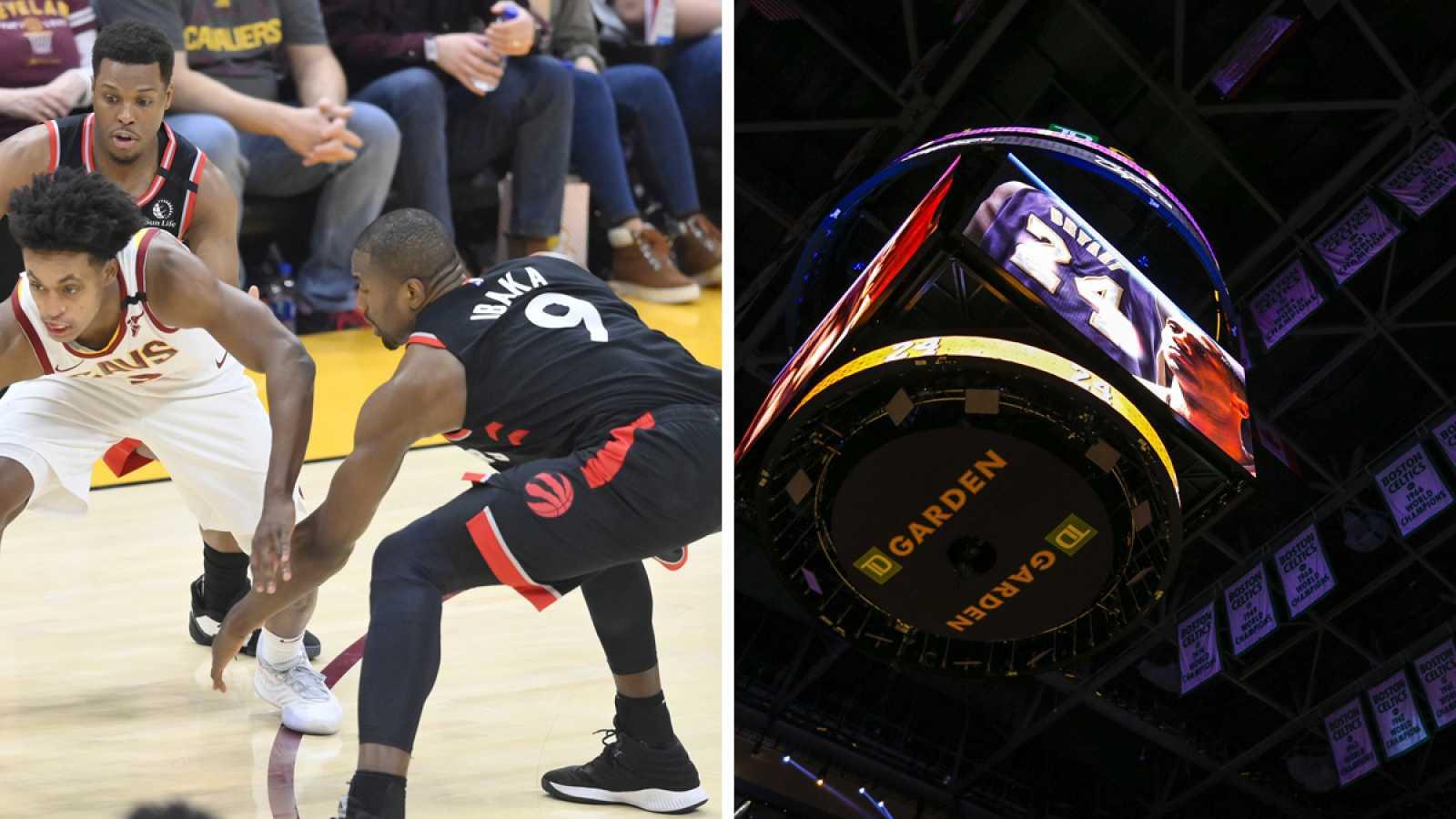 A la izquierda, Ibaka trata de robar un balón; a la derecha, homenaje a Kobe en su cancha rival, el TD Garden de los Celtics