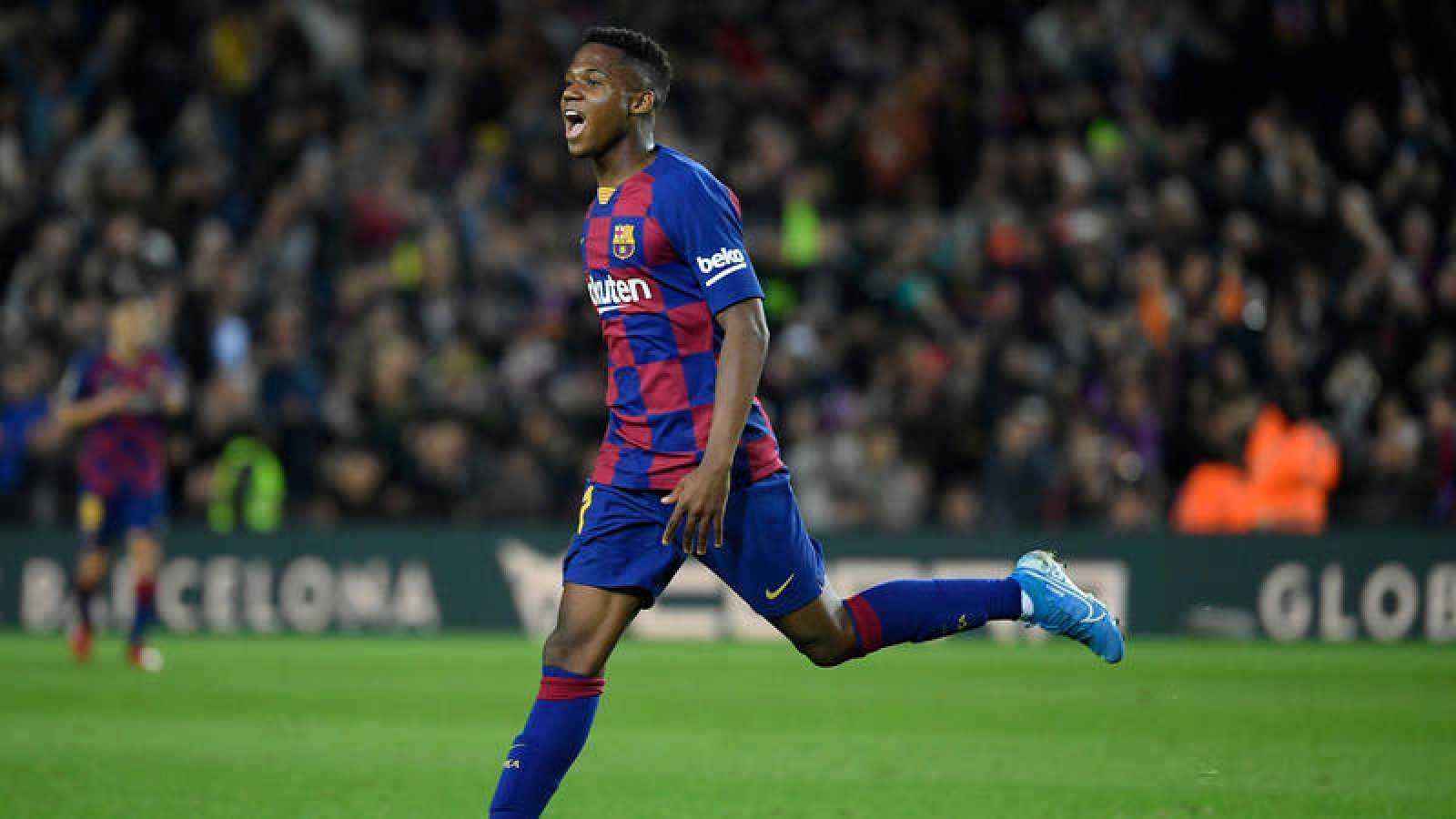 Ansu Fati celebra su gol contra el Levante