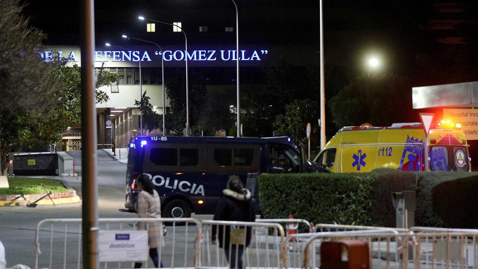 Vista del exterior del Hospital Gómez Ulla, donde pasan la cuarentena los españoles evacuados de Wuhan.