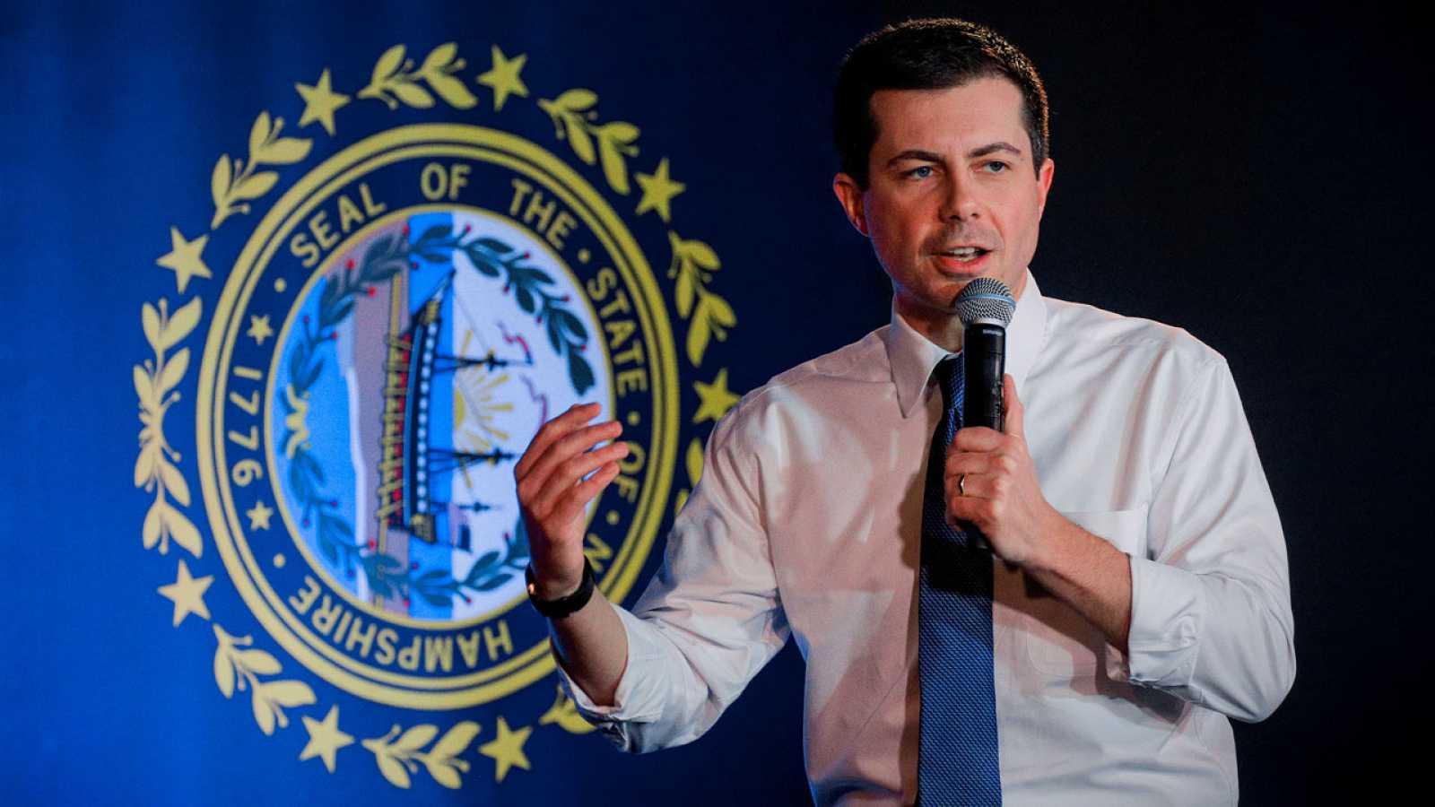 Pete Buttigieg, en un acto electoral este martes en New Hampshire