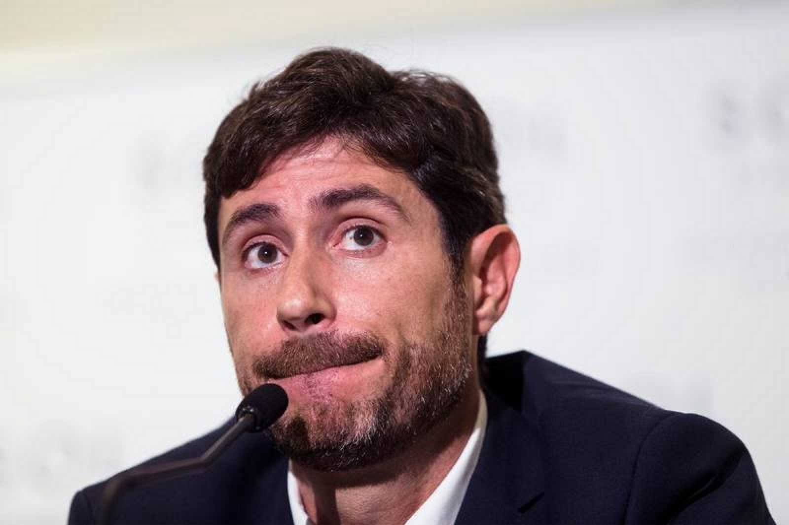 El exentrenador del Málaga Víctor Sánchez del Amo durante una rueda de prensa.