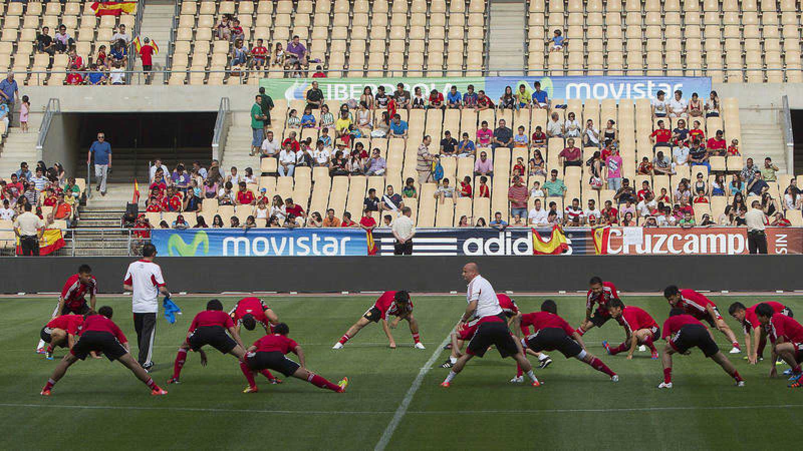 Imagen de un entrenamiento de China con motivo del amistoso de 2012 contra España en La Cartuja.