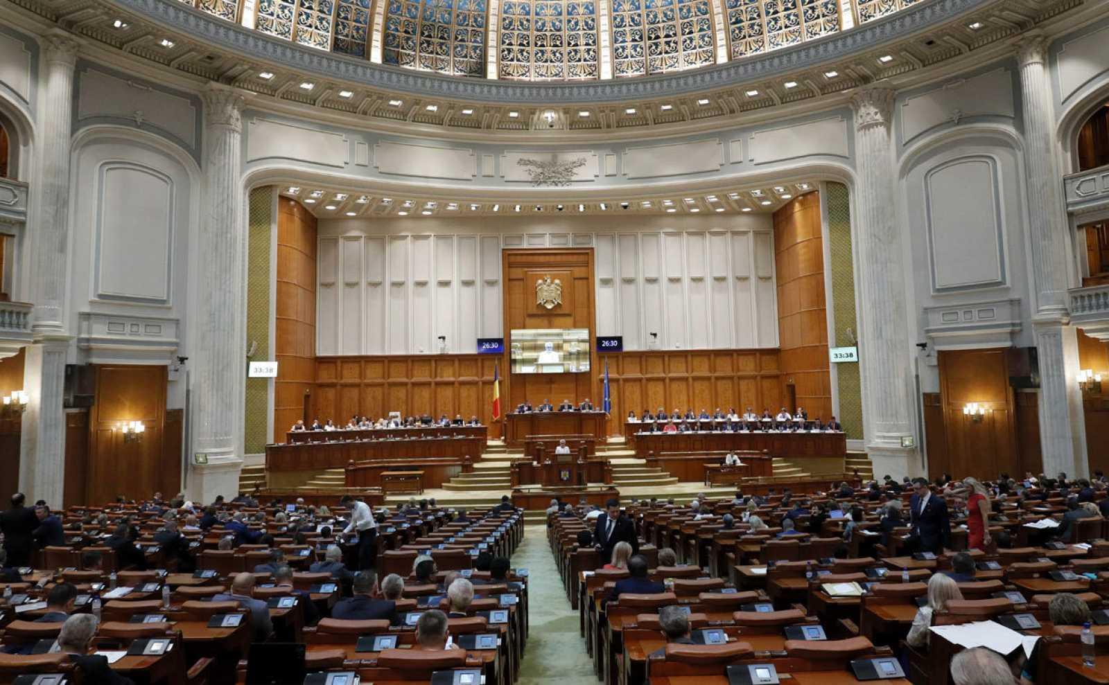 Imagen de una sesión del Parlamento rumano en Bucarest.