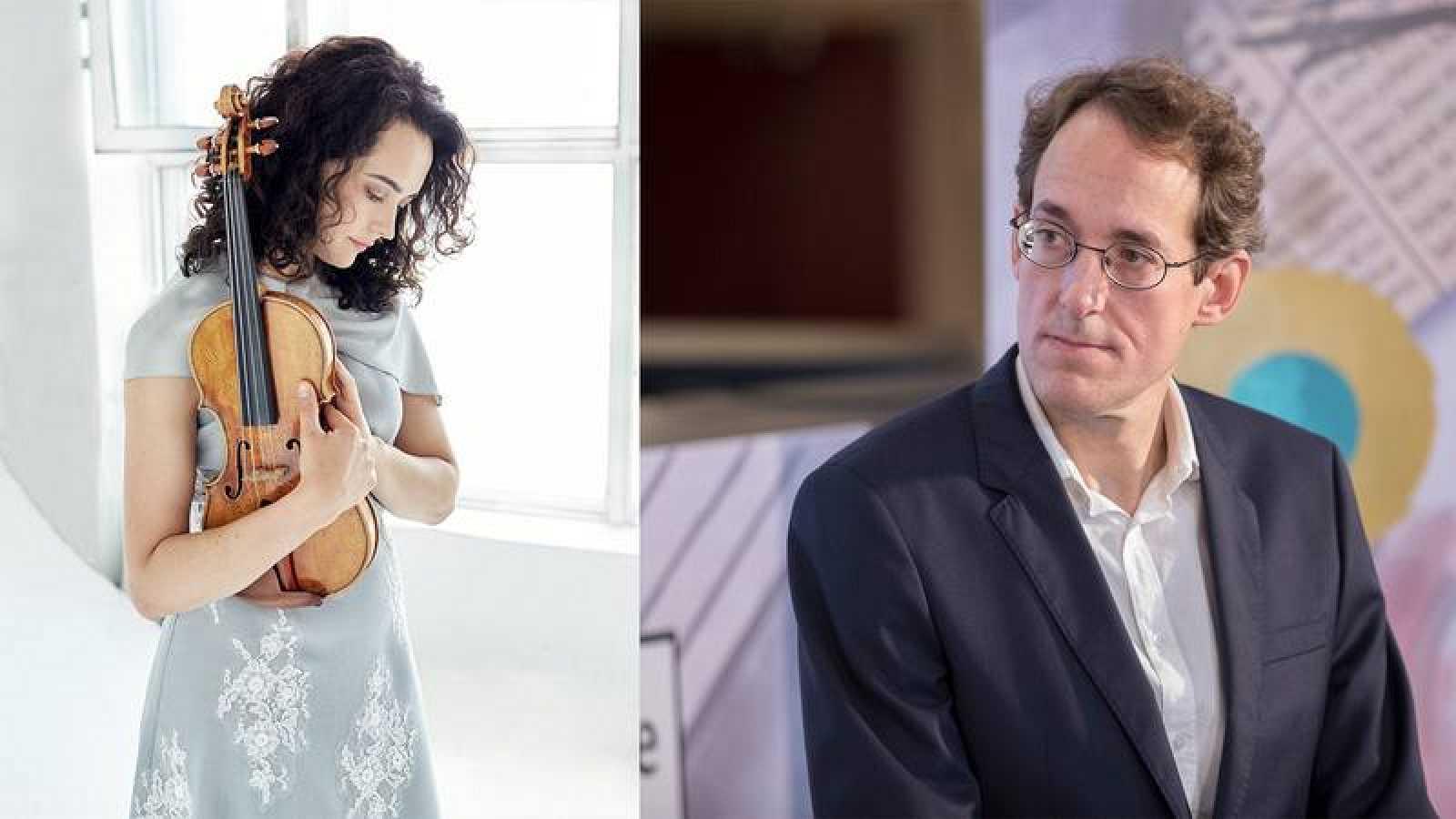 La violinista Alena Baeva y el director Pablo González