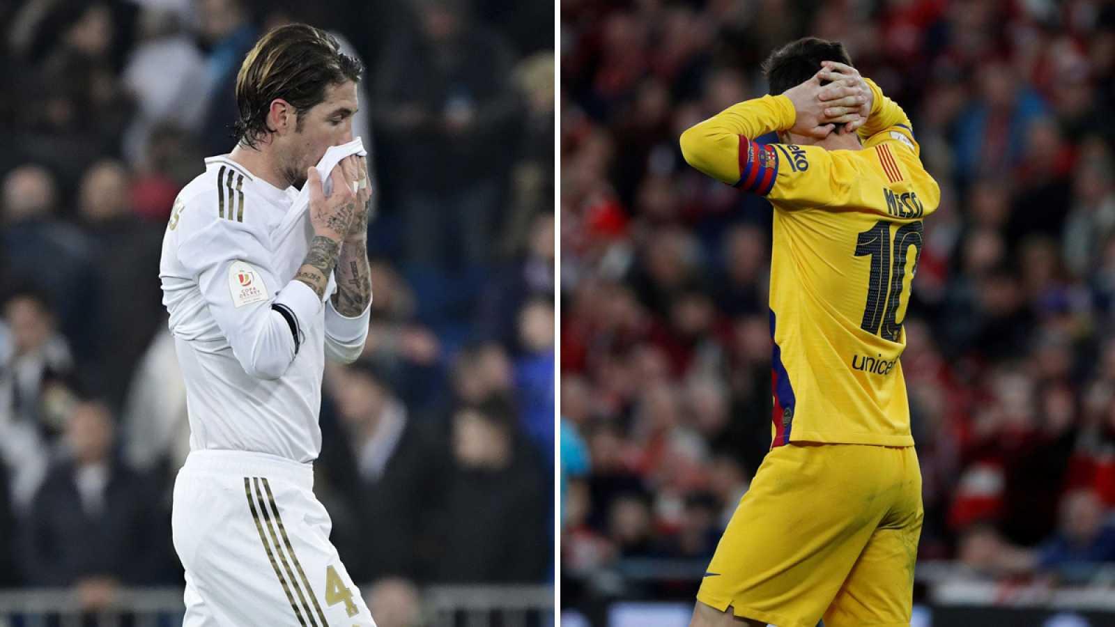 Sergio Ramos (i) y Lionel Messi (d) lamentan las eliminaciones de sus equipos en Copa del Rey