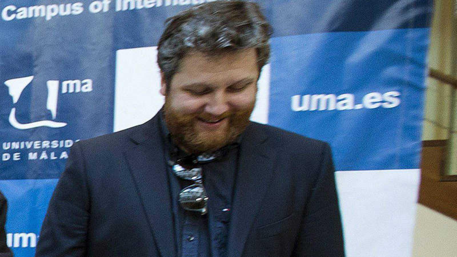 David Gistau al inicio de una mesa redonda durante las jornadas sobre Columnismo de Opinión organizadas por la Universidad de Málaga (09/01/2014)