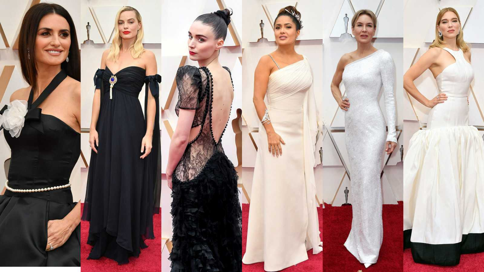 La alfombra roja de los Oscar: duelo entre negro y blanco
